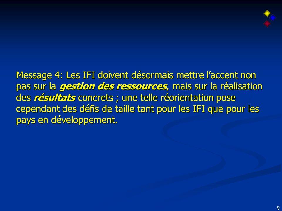 10 Défis pour les IFIs et les pays en développement dune gestion des résultats Evoluer dune gestion des facteurs et produits (personnel, rapports, prêts) pour une culture de résultats nécessitera: (1) Un engagement à long terme et le renforcement de lévaluation des résultats par les IFIs (2) Un soutien amélioré pour un renforcement des capacités au niveau institutionnel et statistique dans les pays en développement