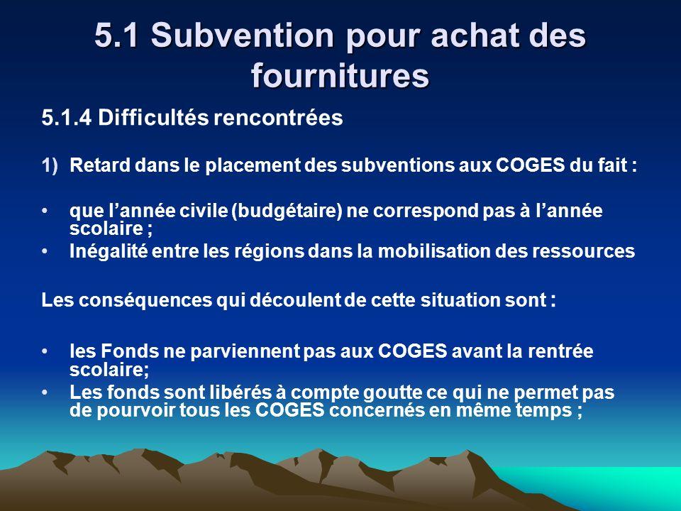 5.1 Subvention pour achat des fournitures 5.1.4 Difficultés rencontrées 1)Retard dans le placement des subventions aux COGES du fait : que lannée civi