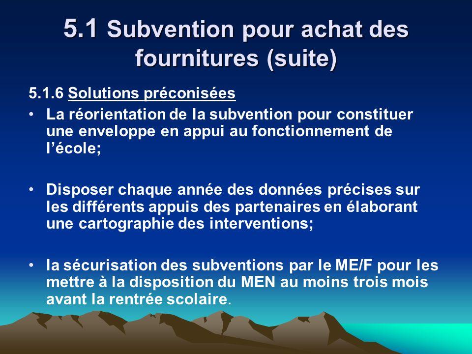 5.1 Subvention pour achat des fournitures (suite) 5.1.6 Solutions préconisées La réorientation de la subvention pour constituer une enveloppe en appui