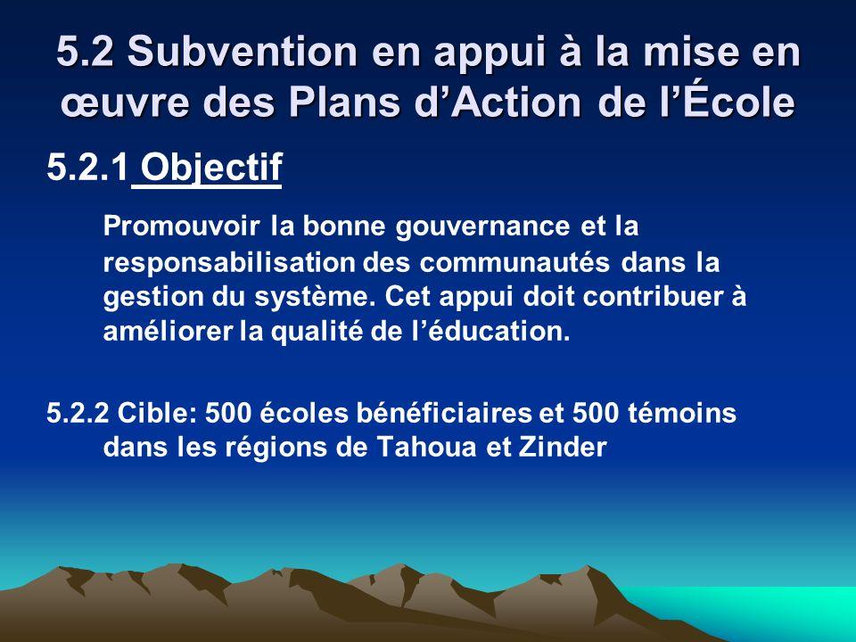 5.2 Subvention en appui à la mise en œuvre des Plans dAction de lÉcole 5.2.1 Objectif Promouvoir la bonne gouvernance et la responsabilisation des com