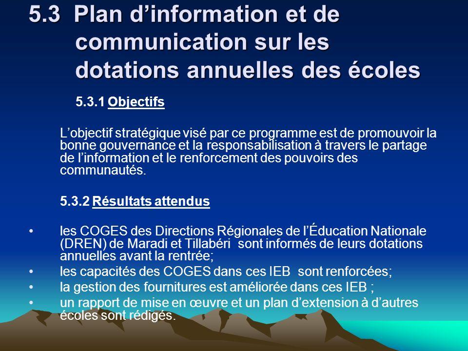 5.3 Plan dinformation et de communication sur les dotations annuelles des écoles 5.3.1 Objectifs Lobjectif stratégique visé par ce programme est de pr