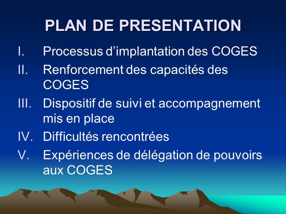 PLAN DE PRESENTATION I.Processus dimplantation des COGES II.Renforcement des capacités des COGES III.Dispositif de suivi et accompagnement mis en plac
