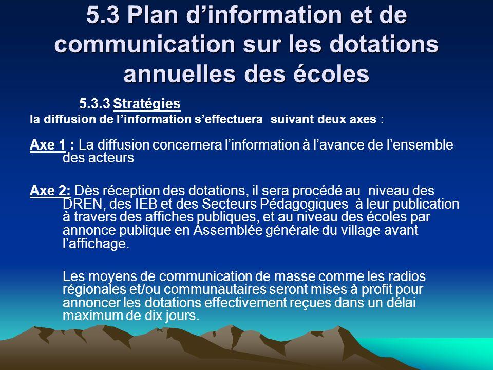 5.3 Plan dinformation et de communication sur les dotations annuelles des écoles 5.3.3 Stratégies la diffusion de linformation seffectuera suivant deu