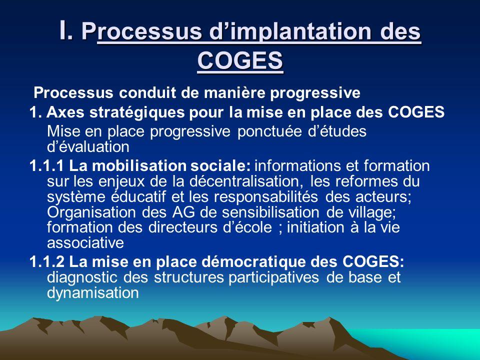 I. Processus dimplantation des COGES Processus conduit de manière progressive 1. Axes stratégiques pour la mise en place des COGES Mise en place progr