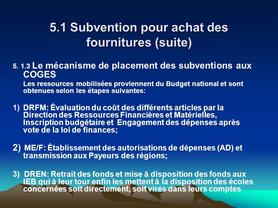 5.1 Subvention pour achat des fournitures (suite) 5. 1.3 Le mécanisme de placement des subventions aux COGES Les ressources mobilisées proviennent du
