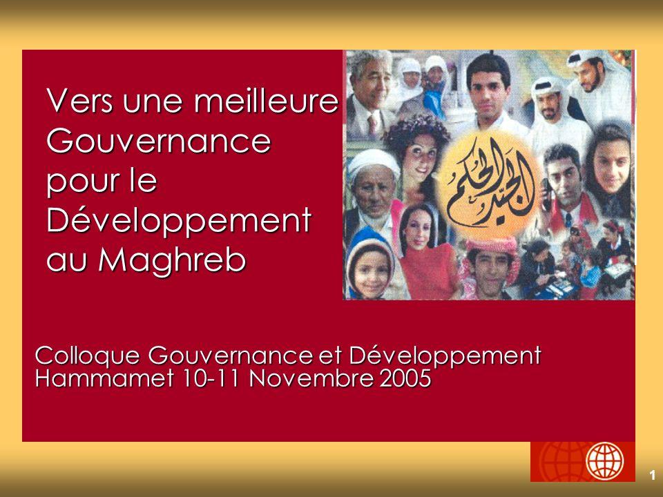 1 Colloque Gouvernance et Développement Hammamet 10-11 Novembre 2005 Vers une meilleure Gouvernance pour le Développement au Maghreb