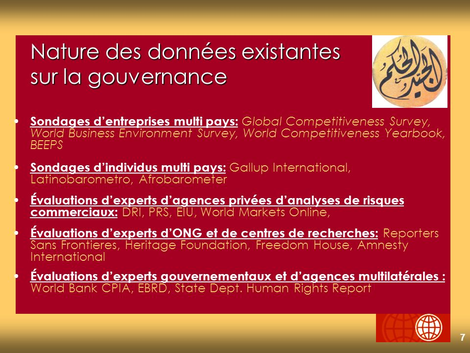 7 Nature des données existantes sur la gouvernance Sondages dentreprises multi pays: Global Competitiveness Survey, World Business Environment Survey, World Competitiveness Yearbook, BEEPS Sondages dindividus multi pays: Gallup International, Latinobarometro, Afrobarometer Évaluations dexperts dagences privées danalyses de risques commerciaux: DRI, PRS, EIU, World Markets Online, Évaluations dexperts dONG et de centres de recherches: Reporters Sans Frontieres, Heritage Foundation, Freedom House, Amnesty International Évaluations dexperts gouvernementaux et dagences multilatérales : World Bank CPIA, EBRD, State Dept.