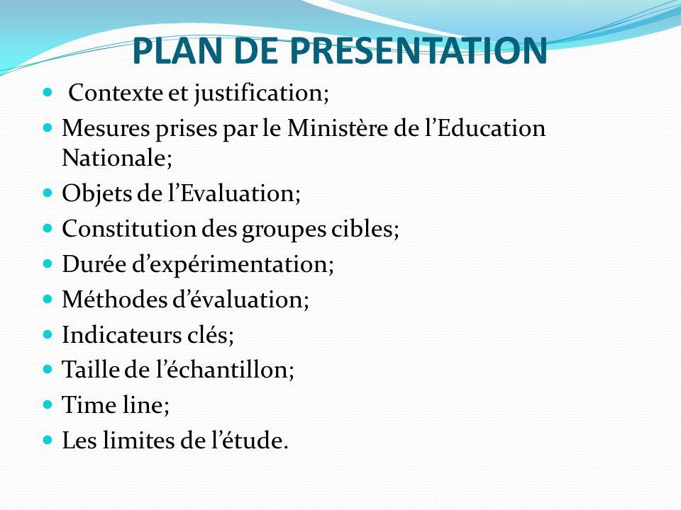 PLAN DE PRESENTATION Contexte et justification; Mesures prises par le Ministère de lEducation Nationale; Objets de lEvaluation; Constitution des group