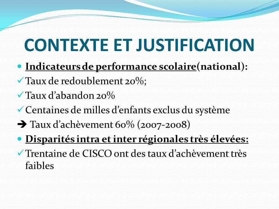 CONTEXTE ET JUSTIFICATION Indicateurs de performance scolaire(national): Taux de redoublement 20%; Taux dabandon 20% Centaines de milles denfants excl