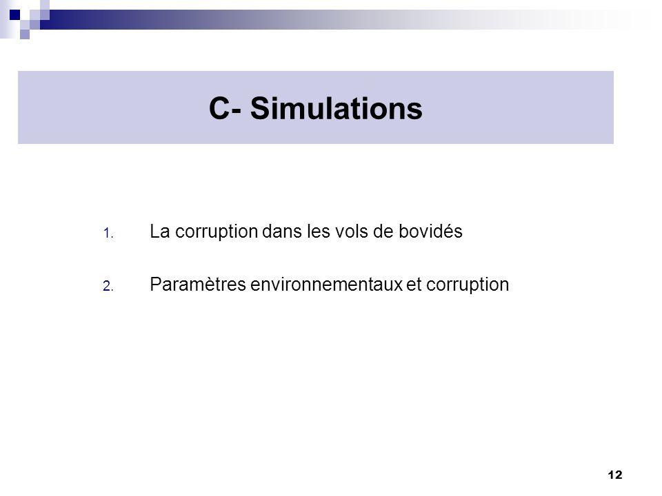12 C- Simulations 1. La corruption dans les vols de bovidés 2. Paramètres environnementaux et corruption
