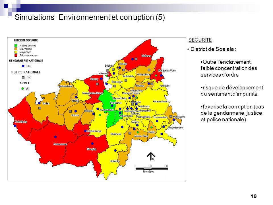 19 SECURITE District de Soalala : Outre lenclavement, faible concentration des services dordre risque de développement du sentiment dimpunité favorise