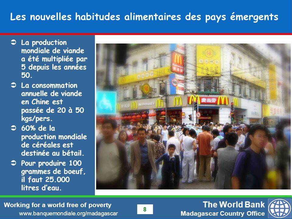The World Bank Madagascar Country Office www.banquemondiale.org/madagascar Working for a world free of poverty 19 Opportunité pour Madagascar Opportunité pour booster sa production pour sautosuffire et exporter Déficit faible, augmentation de plus de 10% du rendement pour devenir exportateur.