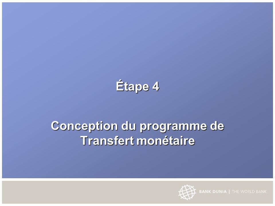 Étape 4 Conception du programme de Transfert monétaire