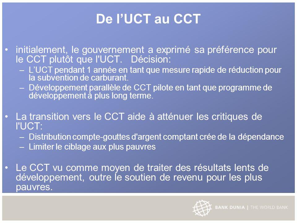 De lUCT au CCT initialement, le gouvernement a exprimé sa préférence pour le CCT plutôt que l UCT.