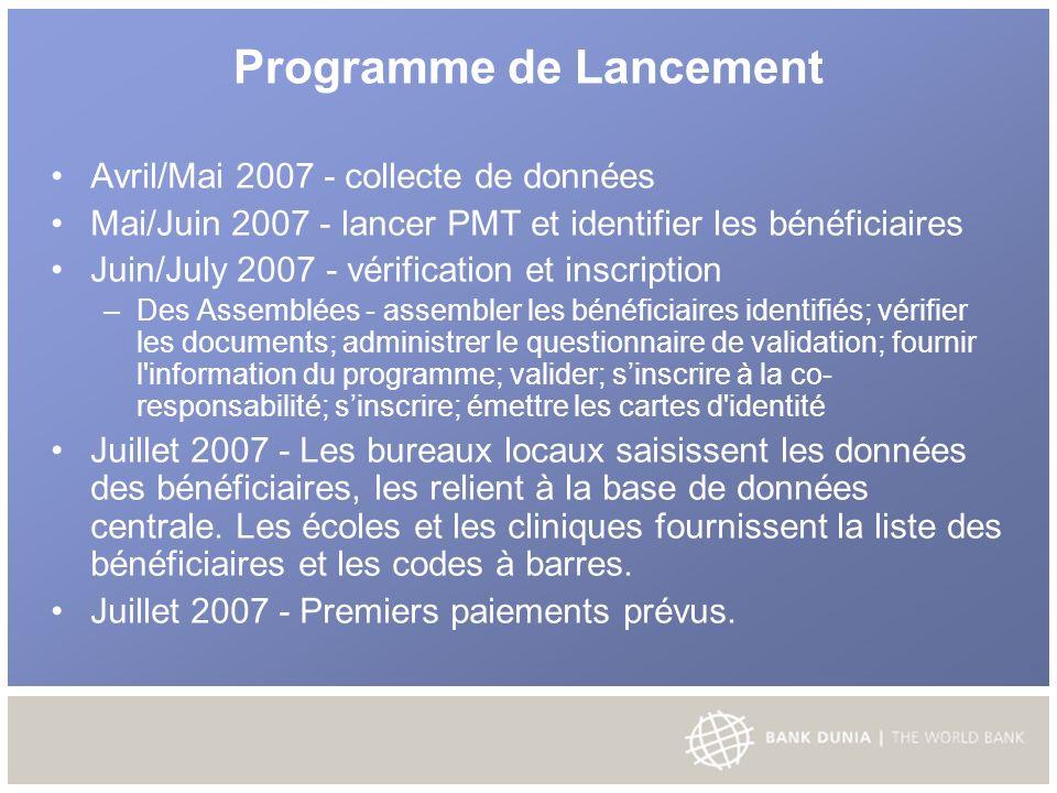 Programme de Lancement Avril/Mai 2007 - collecte de données Mai/Juin 2007 - lancer PMT et identifier les bénéficiaires Juin/July 2007 - vérification et inscription – Des Assemblées - assembler les bénéficiaires identifiés; vérifier les documents; administrer le questionnaire de validation; fournir l information du programme; valider; sinscrire à la co- responsabilité; sinscrire; émettre les cartes d identité Juillet 2007 - Les bureaux locaux saisissent les données des bénéficiaires, les relient à la base de données centrale.