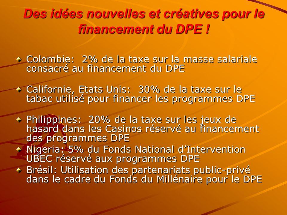 Des idées nouvelles et créatives pour le financement du DPE ! Colombie: 2% de la taxe sur la masse salariale consacré au financement du DPE Californie