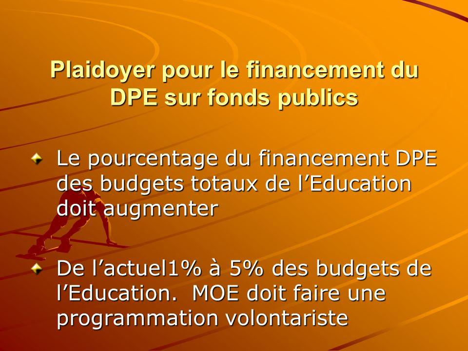Plaidoyer pour le financement du DPE sur fonds publics Le pourcentage du financement DPE des budgets totaux de lEducation doit augmenter De lactuel1%