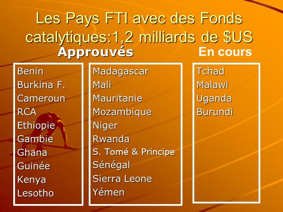 Les Pays FTI avec des Fonds catalytiques:1,2 milliards de $US Benin Burkina F. CamerounRCAEthiopieGambieGhanaGuinéeKenyaLesothoTchadMalawiUgandaBurund