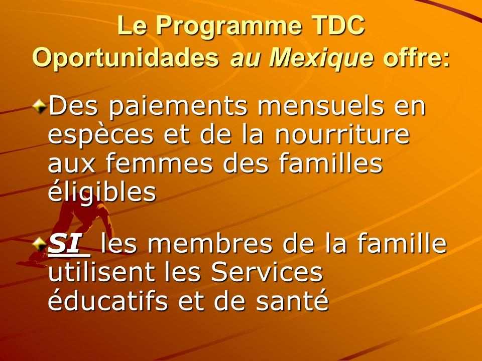 Le Programme TDC Oportunidades au Mexique offre: Des paiements mensuels en espèces et de la nourriture aux femmes des familles éligibles SI les membre