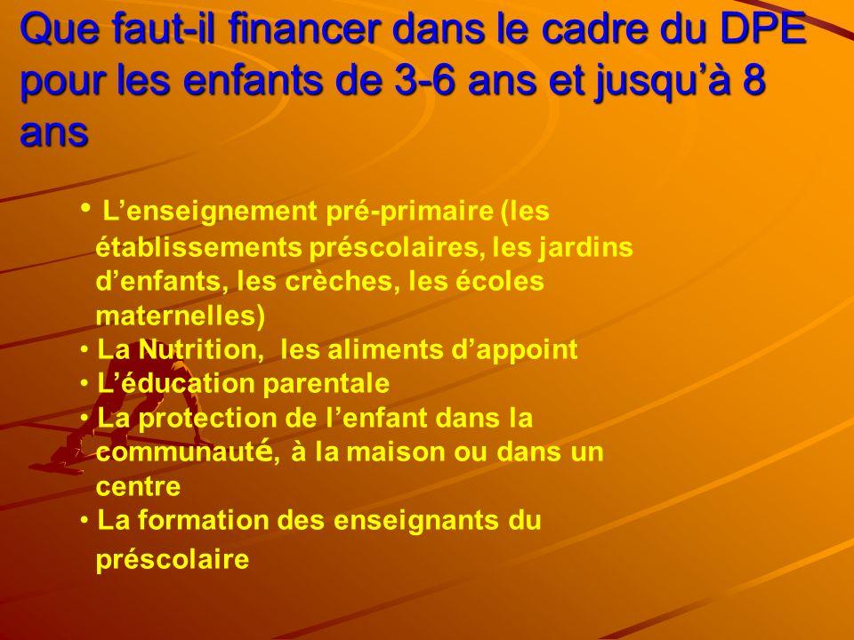 Que faut-il financer dans le cadre du DPE pour les enfants de 3-6 ans et jusquà 8 ans Lenseignement pré-primaire (les établissements préscolaires, les