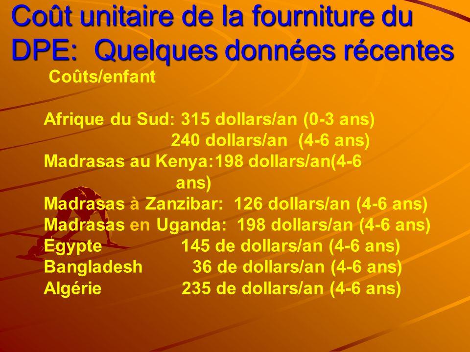 Coût unitaire de la fourniture du DPE: Quelques données récentes Coûts/enfant Afrique du Sud: 315 dollars/an (0-3 ans) 240 dollars/an (4-6 ans) Madras