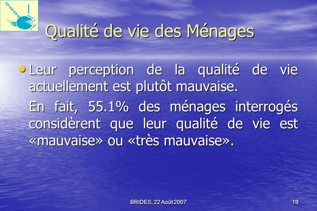 BRIDES, 22 Août 200718 (1) Principaux défis et problèmes