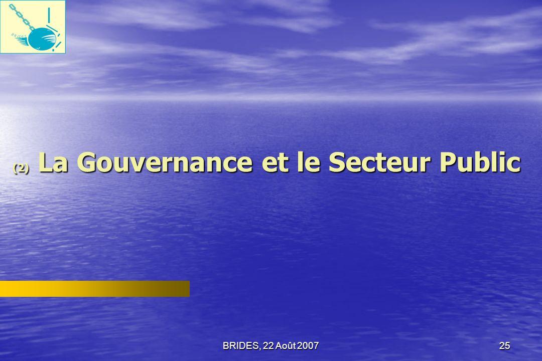 BRIDES, 22 Août 200724 Les Dirigeants dONG 52,0% des dirigeants dONG pense que la situation actuelle en Haïti s«empire» ou «a beaucoup empiré» au cours des 3 années qui ont précédé lenquête diagnostique.