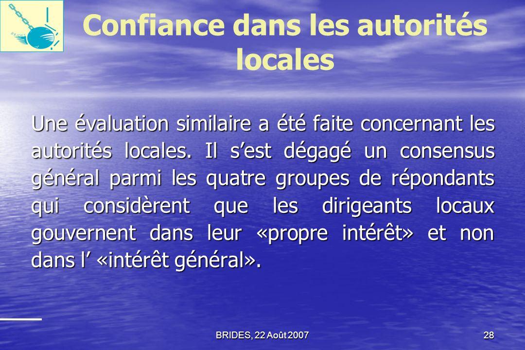 BRIDES, 22 Août 200727 Confiance dans les autorités nationales Opinions des répondants sur la mesure selon laquelle le gouvernement prend en compte les besoins publics