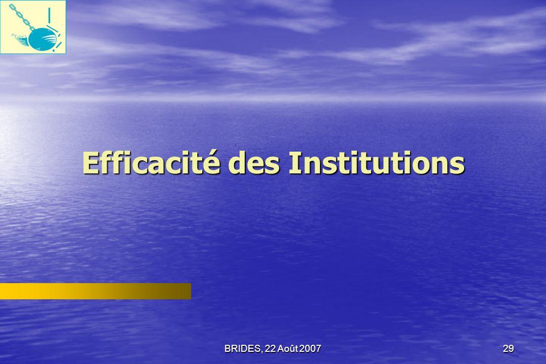 BRIDES, 22 Août 200728 Confiance dans les autorités locales Une évaluation similaire a été faite concernant les autorités locales.