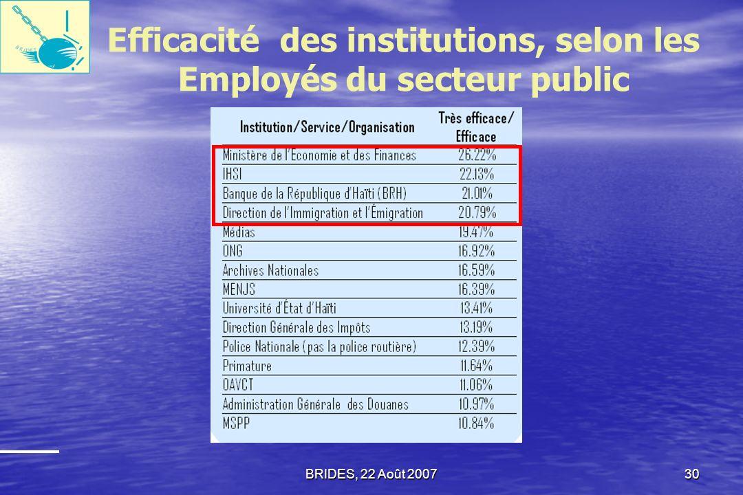 BRIDES, 22 Août 200729 Efficacité des Institutions