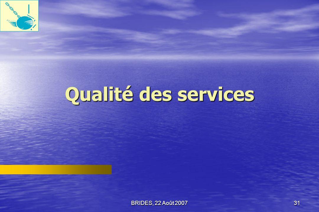 BRIDES, 22 Août 200730 Efficacité des institutions, selon les Employés du secteur public