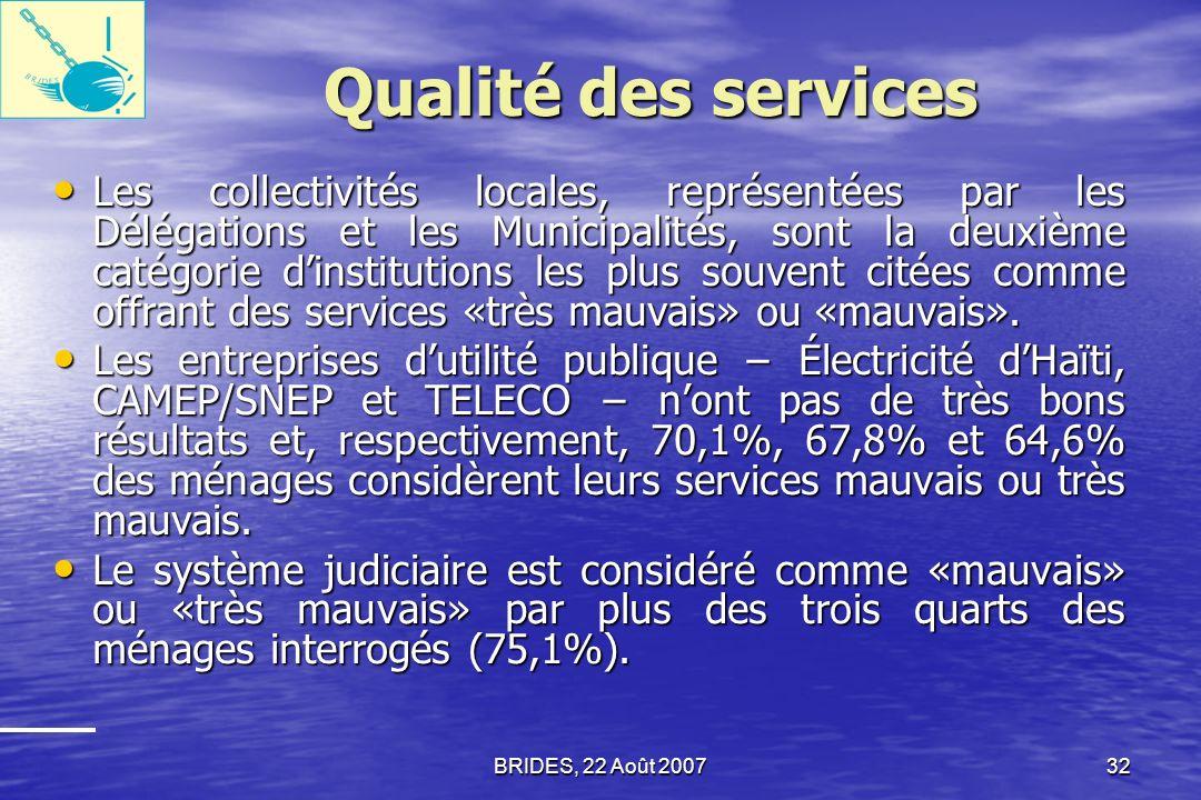 BRIDES, 22 Août 200731 Qualité des services