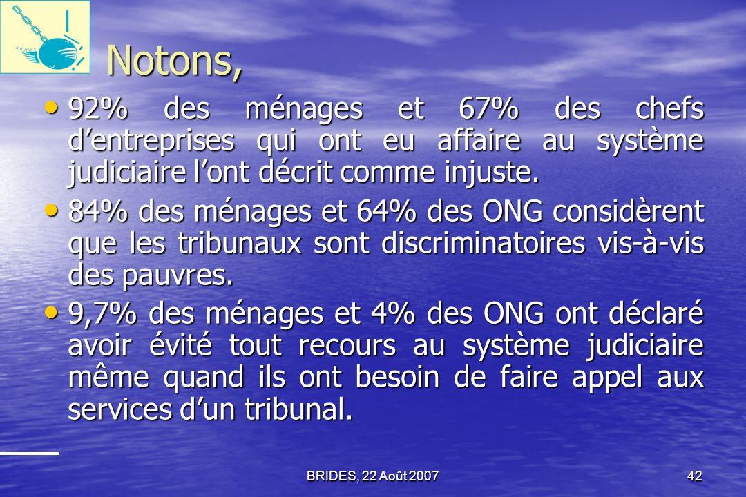 BRIDES, 22 Août 200741 Évaluation/Performance du système judiciaire