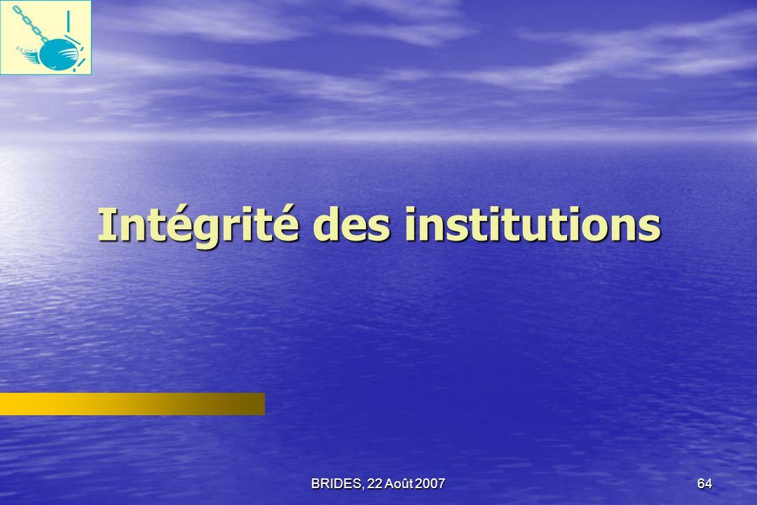 BRIDES, 22 Août 200763 Opinions des ménages sur qui encourage la corruption en Haïti