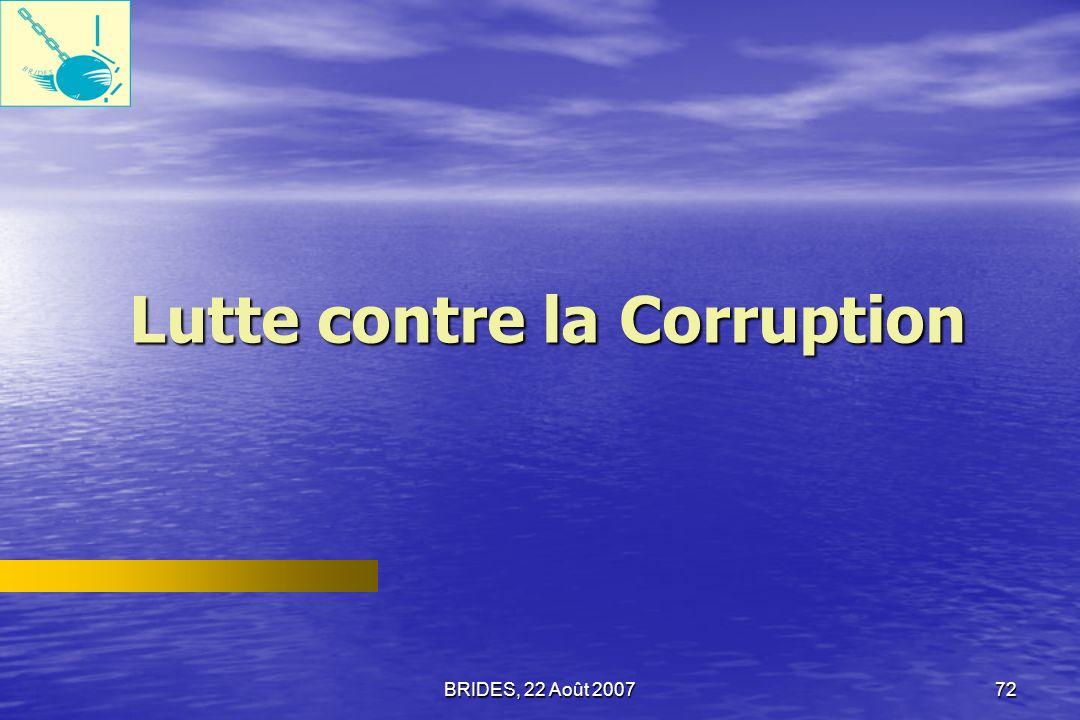 BRIDES, 22 Août 200771 Les types de corruption daprès les dirigeants dONG