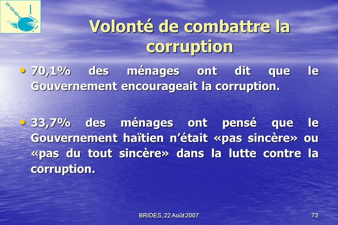 BRIDES, 22 Août 200772 Lutte contre la Corruption