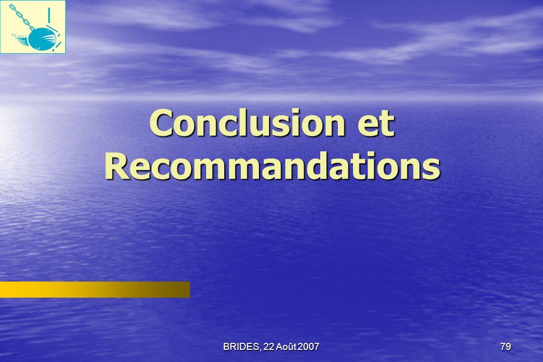 BRIDES, 22 Août 200778 Priorités dans les réformes du secteur public, daprès les fonctionnaires du secteur public