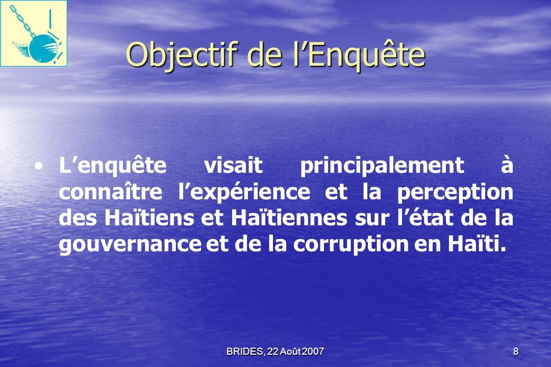 BRIDES, 22 Août 20077 Donc, la planification de telles politiques fait appel nécessairement à la préparation dune Enquête diagnostique approfondie sur létat de la Gouvernance et de la Corruption en Haïti.
