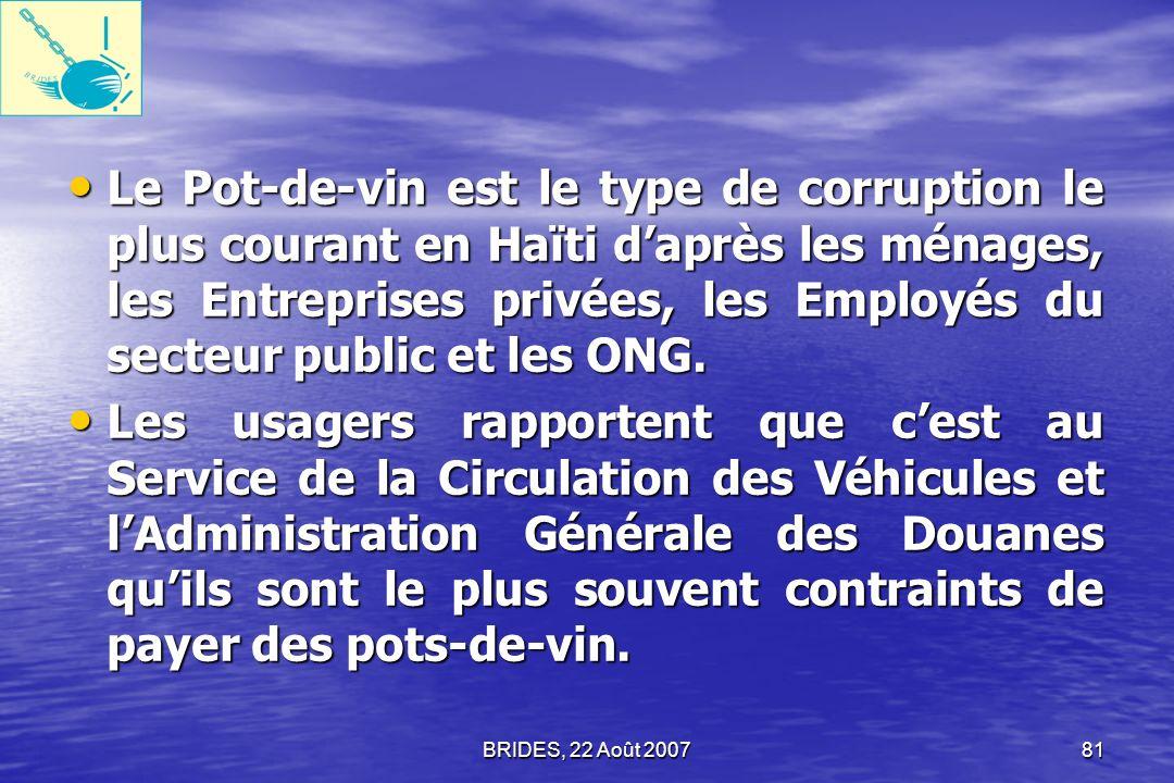 BRIDES, 22 Août 200780 Les Enquêtés saccordent à dire que la corruption est un sérieux problème et expriment un grand désir que cette question soit traitée.