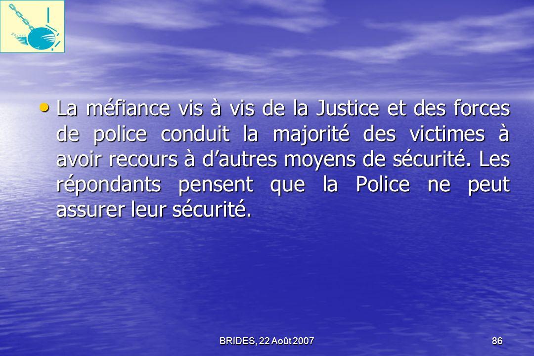 BRIDES, 22 Août 200785 Cependant, le secteur public haïtien a eu aussi des résultats relativement bons sur les mesures de transparence concernant le personnel et le budget, qui sont les points dentrée typiques de la corruption.