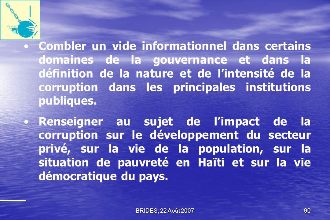 BRIDES, 22 Août 200789 En définitive, Le BRIDES espère que létude sur la gouvernance et la perception de la corruption aura contribué, entre autres, à :