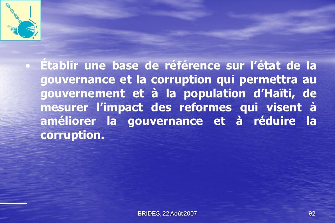BRIDES, 22 Août 200791 Permettre la disponibilité de données de qualité nécessaire aux prises de décision en matière de fixation de politiques publiques de lélaboration dune stratégie nationale pour la gouvernance et la lutte contre la corruption.