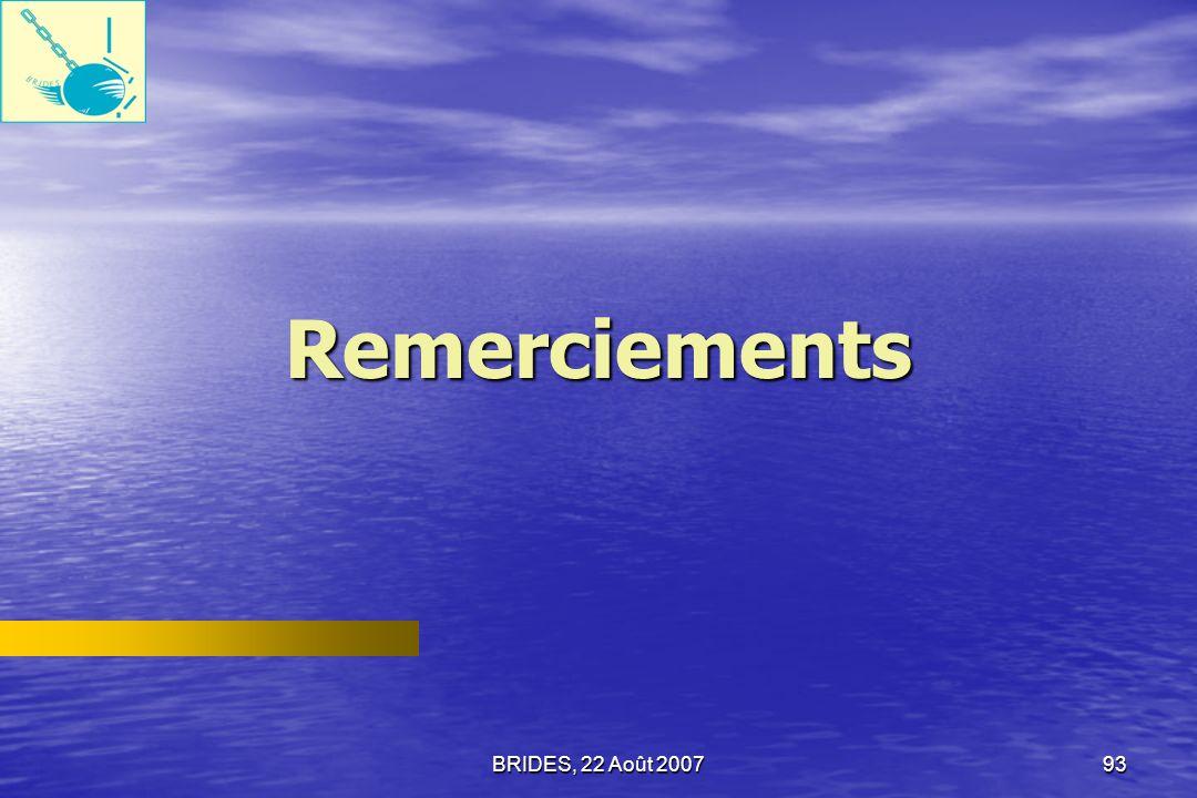 BRIDES, 22 Août 200792 Établir une base de référence sur létat de la gouvernance et la corruption qui permettra au gouvernement et à la population dHaïti, de mesurer limpact des reformes qui visent à améliorer la gouvernance et à réduire la corruption.