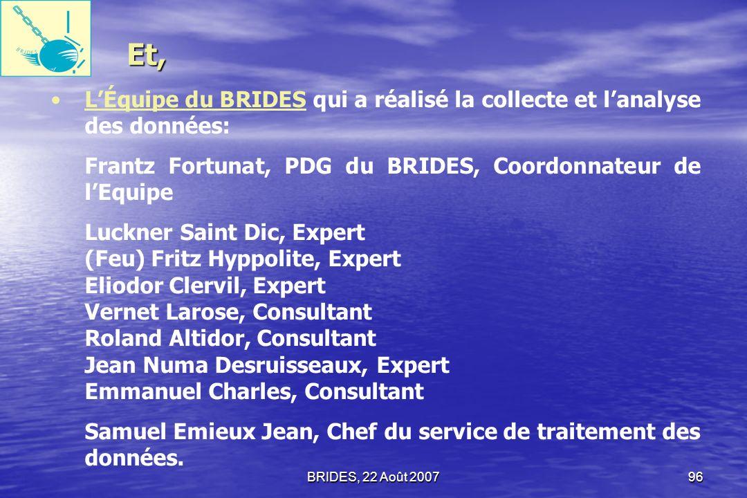 BRIDES, 22 Août 200795 LÉquipe de lULCC qui a assuré la supervision et la coordination : Amos Durosier, Directeur Général de lULCC Pierre-Louis Opont,