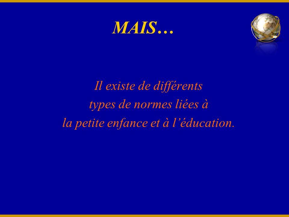 MAIS… Il existe de différents types de normes liées à la petite enfance et à léducation.