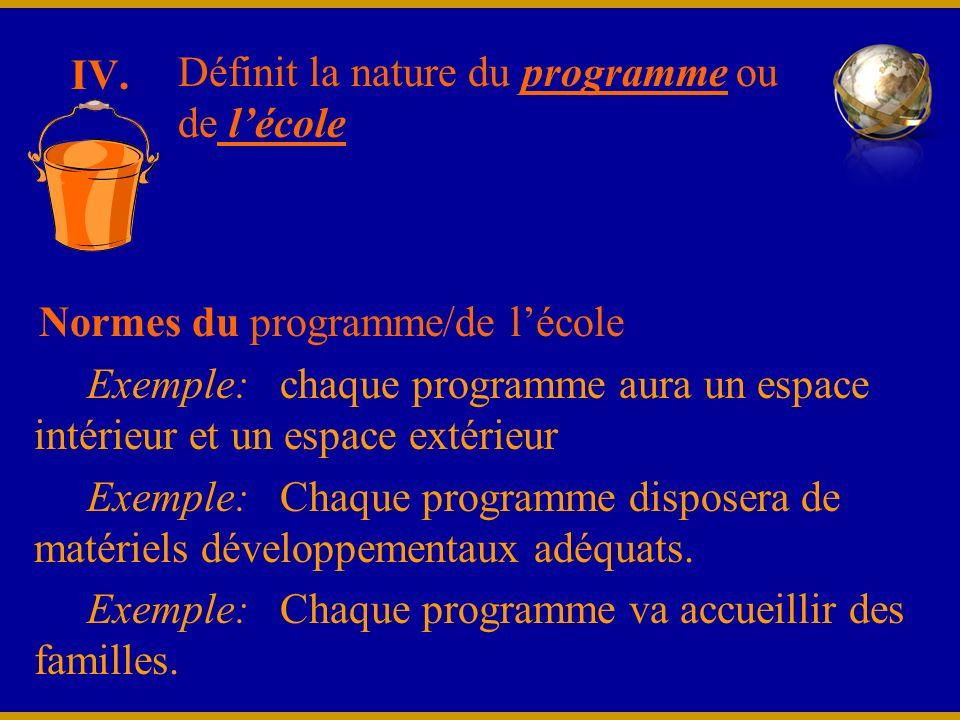 IV. Normes du programme/de lécole Exemple: chaque programme aura un espace intérieur et un espace extérieur Exemple: Chaque programme disposera de mat