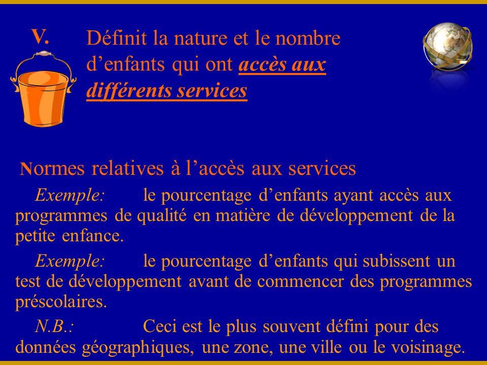 N ormes relatives à laccès aux services Exemple:le pourcentage denfants ayant accès aux programmes de qualité en matière de développement de la petite enfance.