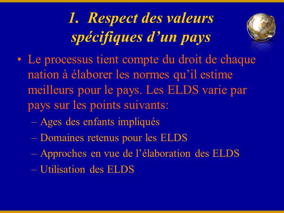 1. Respect des valeurs spécifiques dun pays Le processus tient compte du droit de chaque nation à élaborer les normes quil estime meilleurs pour le pa