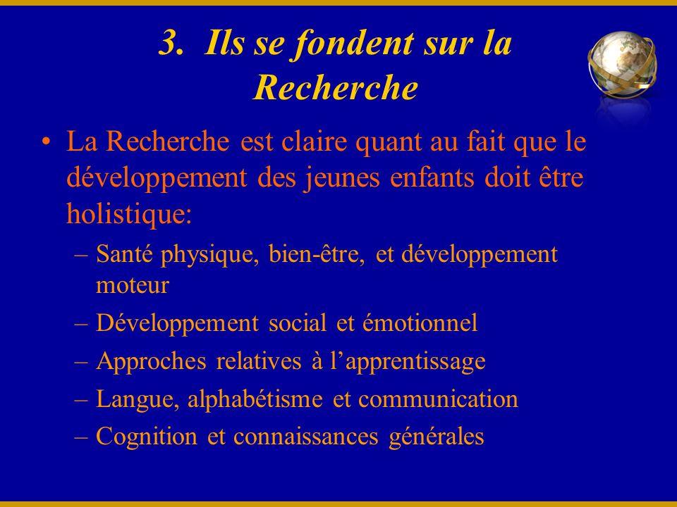 3. Ils se fondent sur la Recherche La Recherche est claire quant au fait que le développement des jeunes enfants doit être holistique: –Santé physique