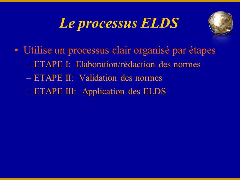 Le processus ELDS Utilise un processus clair organisé par étapes –ETAPE I: Elaboration/rédaction des normes –ETAPE II: Validation des normes –ETAPE III: Application des ELDS